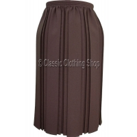 Brown Plain Fully Elasticated Pleated Skirt