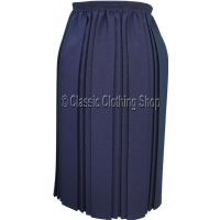 Navy Plain Fully Elasticated Pleated Skirt