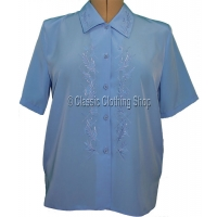 Blue Nicole Lewis Short Sleeve Blouse