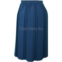 Airforce Blue Plain Fully Elasticated Pleated Skirt