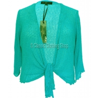 Mint Green Mudflower Tie-Knot Popcorn Shrug