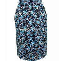 Turquoise Floral Naomee Full Elastic Pleated Print Skirt