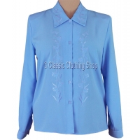 Blue Embroidered Long Sleeve Blouse