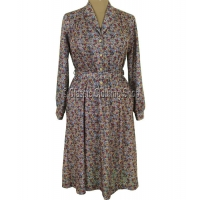 Brown/Coral  Floral Long Sleeve Dress