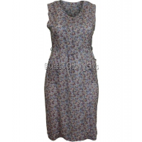 Taupe Zipped Floral Pinafore Dress