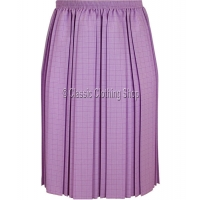 Lilac Check Fully Elasticated Pleated Skirt