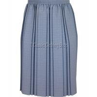 Blue Check Fully Elasticated Pleated Skirt