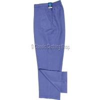 Denim Blue Herringbone Self Pattern Trousers