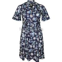 Navy Floral Short Sleeve Dress