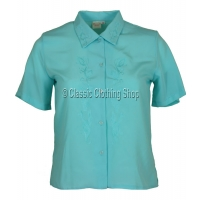 Aqua Blue Nicole Lewis Short Sleeve Blouse