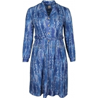 Blue Abstract Pattern Long Sleeve Dress