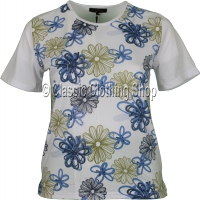 Blue Floral Embellished T-Shirt