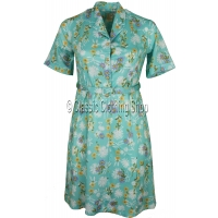 Aqua Blue Daisy Floral Short Sleeve Dress