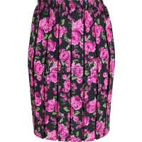 Black & Pink Floral Naomee Full Elastic Pleated Print Skirt