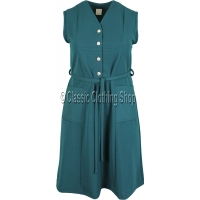 Bottle Green Plain Ribbed Pinafore Dress