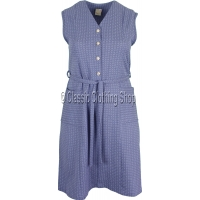Blue Diamond Pattern Pinafore Dress