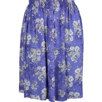 Deep Blue Floral Printed Viscose Skirt