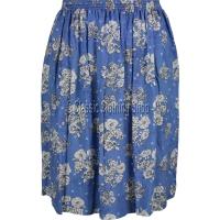 Aqua Blue Floral Printed Viscose Skirt