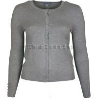 Grey Plain Fine Knitted Round Neck Cardigan