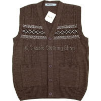 Chocolate Mens Classic Knitted Waistcoat