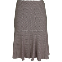 Stone/Red Panelled A-Line Lined Skirt