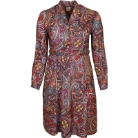 Red Paisley Pattern Long Sleeve Dress