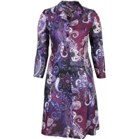 Aubergine Paisley Pattern Long Sleeve Tie Back Dress