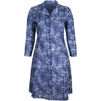Blue Paisley Pattern Long Sleeve Tie Back Dress