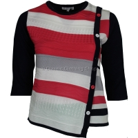 Coral/Navy Three Quarter Sleeve Jumper