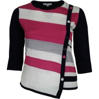 Fuchsia/Navy Three Quarter Sleeve Jumper
