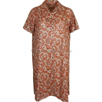 Orange Paisley Short Sleeve Smock Dress