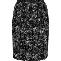 Black/White Paisley Full Elastic Pleated Print Skirt