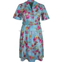 Aqua Floral Short Sleeve Dress
