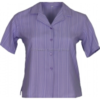 Lilac Stripe Searsucker Short Sleeve Blouse