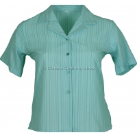 Aqua Stripe Searsucker Short Sleeve Blouse