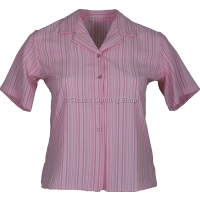 Pink Stripe Searsucker Short Sleeve Blouse