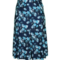 Navy Floral Panelled Skirt