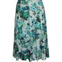 Teal Floral Panelled Skirt