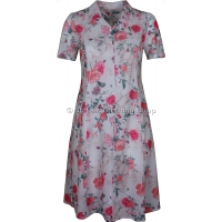 Rose Pink Floral V Neck Short Sleeve Tie-Back Dress