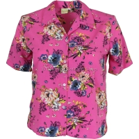Hot Pink Floral Printed Short Sleeve Blouse