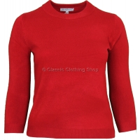 Red Plain Cashmilon Long Sleeve Jumper