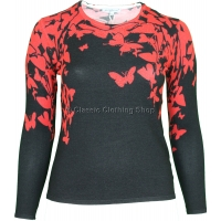 Red Butterfly Round Neck Long Sleeve Jumper
