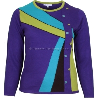Purple Abstract Combination Long Sleeve Jumper