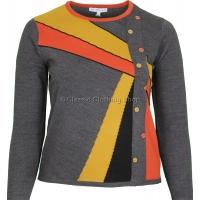 Charcoal Abstract Combination Long Sleeve Jumper