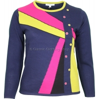 Navy Abstract Combination Long Sleeve Jumper