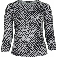 Black & White Abstract Printed Slinky Top