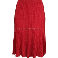 Red Plain Plisse Lined Panelled Skirt