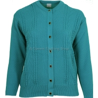Capers Teal Round Neck Cardigan