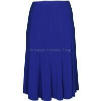 Royal Blue Plain Lined Panelled Skirt