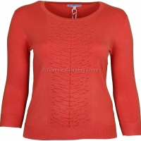 Coral Plain Three Quarter Sleeve Jumper